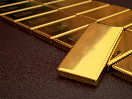 3d modeling and rendering of gold bars Stock Photo