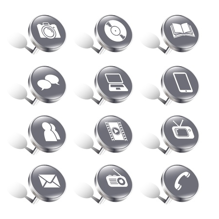 Illustration representing pushpin media communication icons Stock Vector - 19299395