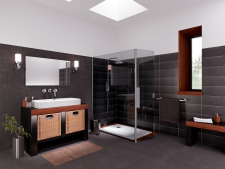 modeling and rendering of a bathroom Stock Photo
