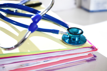 files: Photography closeup of a medical files with stethoscope Stock Photo