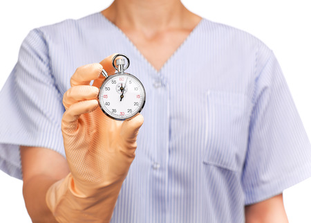 ladies bust: photograph of a bust cleaning lady holding a stopwatch