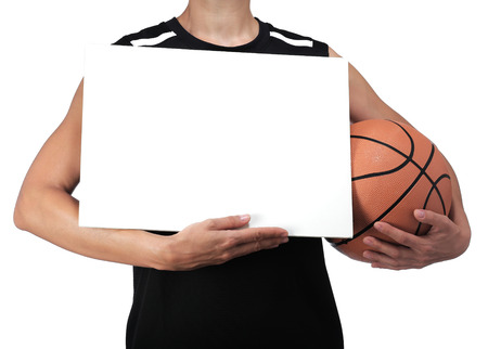 photography of a basketball player holding a white billboard Stock Photo
