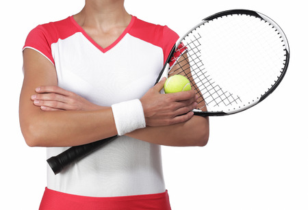 rigor: photography of a female tennis player crossing arm