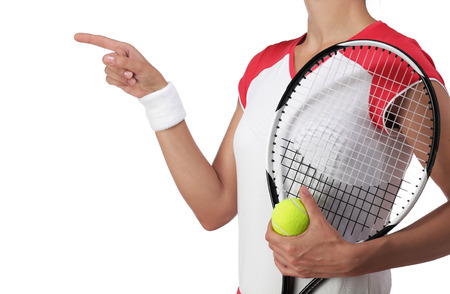 rigor: photography of a female tennis player pointing at something
