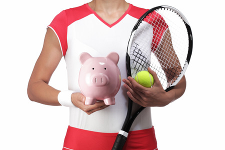 rigor: photography of a female tennis player holding a piggy bank