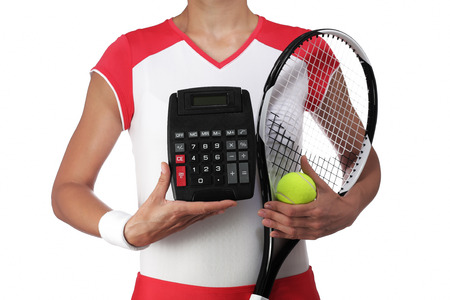 rigor: photography of a female tennis player holding a calculator