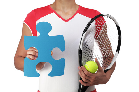 rigor: photography of a female tennis player showing a piece of puzzle