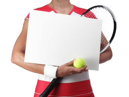 rigor: photography of a female tennis player holding a white billboard