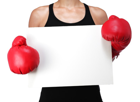 photograph of a bust of a woman boxer with a white panel Stock Photo