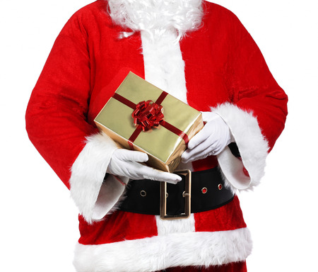 photography of Santa Claus holding presents