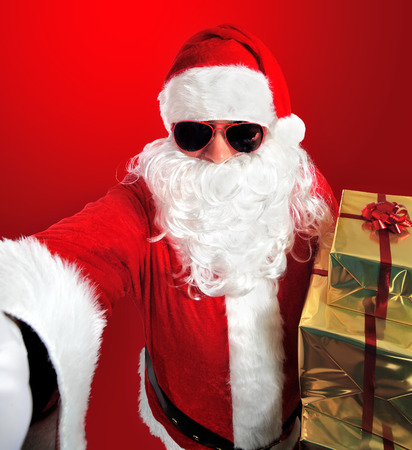 Photography Selfie of Santa Claus with gifts