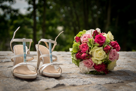 neccessary: Bridal Shoes and Bouquet