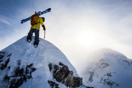 yourself: A mountaineer climbing a peak in Canada. Stock Photo