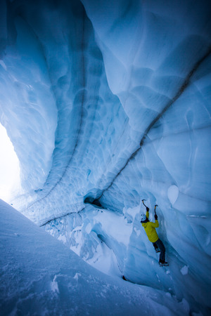 yourself: An ice climber in a crevasse in Canada.