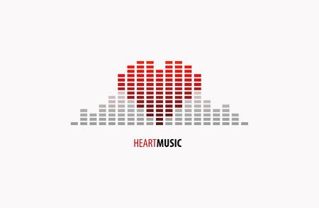 Logo Music equalizer in form of heart. Ilustração