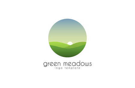 Ecological natural landscape - eco logo template. Sun on the background of green hills - a symbol ecological organic production and agriculture. Ilustração