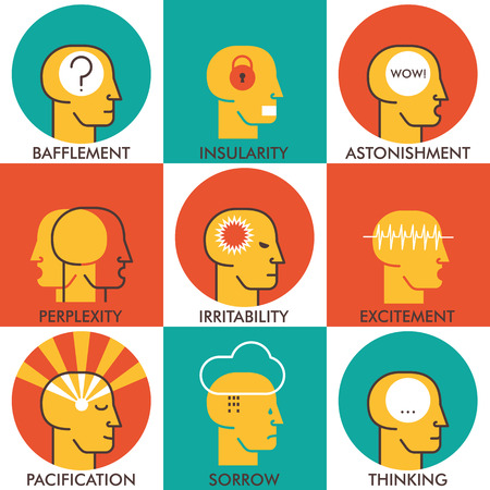 perplexity: line icons set, human emotions icons. Modern vector pictogram collection concept. Icons design.