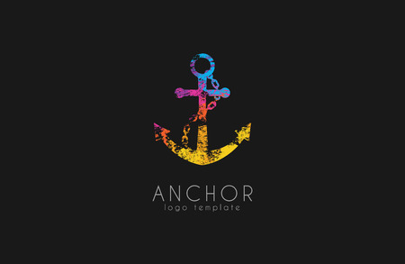 Creative Anchor logo. Rainbow logo. Company logo. Colorful anchor Illusztráció