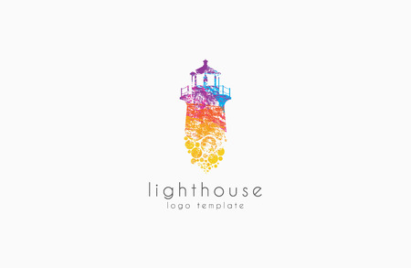 Lighthouse design. Rainbow concept lighthouse logo. Colorful Lighthouse