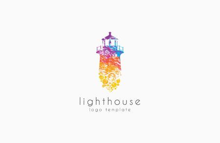 Latarnia projektowania. Rainbow koncepcja latarnia logo. kolorowe Lighthouse