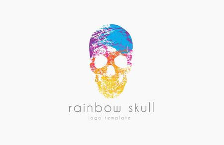Arco iris del cráneo. logotipo del cráneo. logotipo de color. logotipo del cráneo creativo