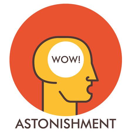 wonderment: Astonishment. Wow. Line icon with flat design elements. Flat icon. Flat Design. Icon concept.