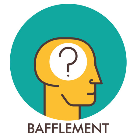 puzzlement: Bafflement. question mark. Line icon with flat design elements. Flat icon. Flat Design. Icon concept.