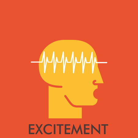 excitement: Excitement. Line icon with flat design elements. Flat icon. Flat Design. Icon concept. Illustration