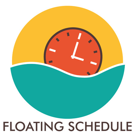 tabulate: Floating schedule. Time. Clock. Line icon with flat design elements. Flat icon. Flat Design. Icon concept. Illustration