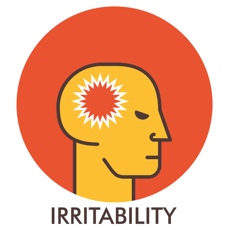 Irritability. Thorn. Line icon with flat design elements. Flat icon. Flat Design. Icon concept.