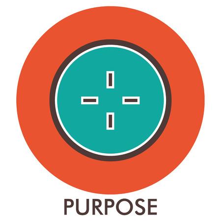 sense of sight: Purpose. sight. sense of purpose. Line icon with flat design elements. Flat icon. Flat Design. Icon concept. Illustration