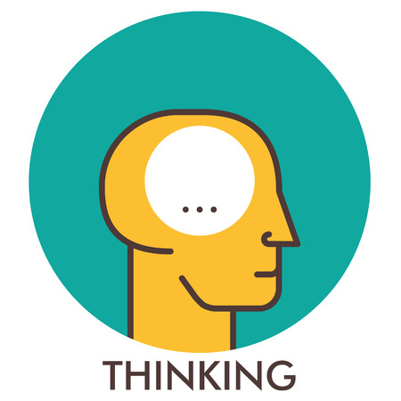 Thinking. Line icon with flat design elements. Flat icon. Flat Design. Icon concept.