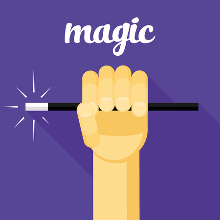 mage: magic vector illustration, magic wand in hand, hand, magic flat design, wizard, sorcerer, mage Illustration