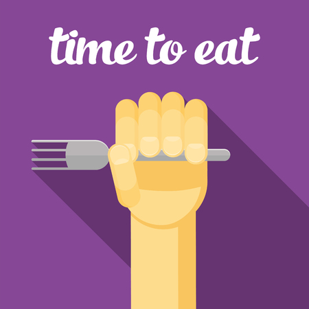 ready logos: time to eat, food, Hand with a fork, eating, cartoon hand, vector hand