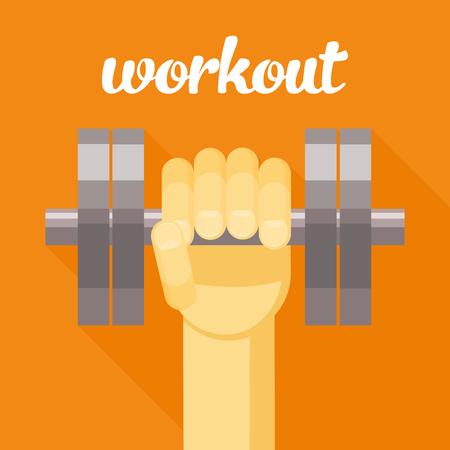 hand with dumbbell: sport, workout vector illustration, dumbbell in hand, sport cartoon illustration