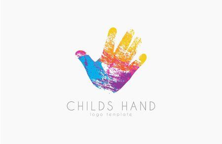 La mano del diseño del logotipo. insignia de la mano del niño. logotipo de color. logotipo del arco iris. estilo grunge