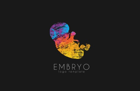 expectant: Embryo logo design. Silhouette of embryo baby. Vector illustration Illustration
