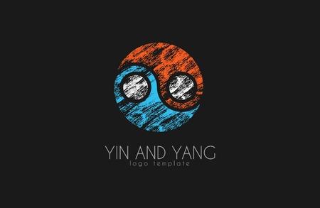 karma design: hand drawn ying yang symbol of harmony and balance,  vector design element