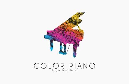 colorful piano rainbow music logo.