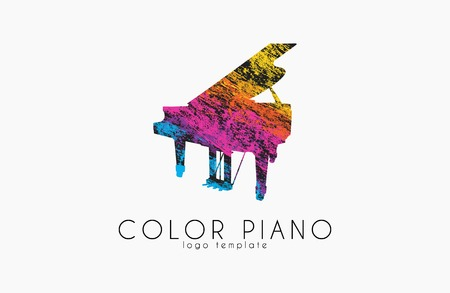 rainbow music: colorful piano rainbow music logo.
