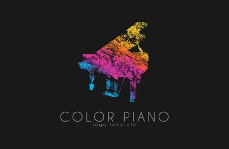 rainbow music: color piano rainbow music logo.