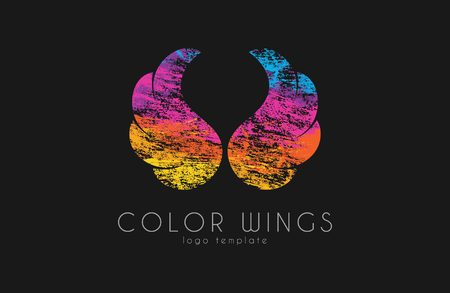 feathery: color  wings in grunge style.