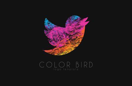tweeting: color bird logo. twitter bird. colorful logo. bird in grunge style