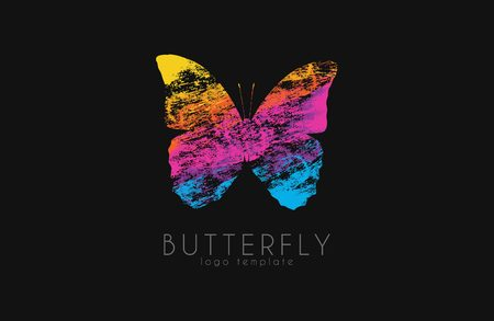 butterfly in hand: Colorful butterfly. Butterfly logo. Rainbow logo. Creative design logo.