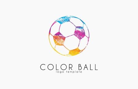 blue ball: soccer mall logo. colorful soccer ball. crative logo. rainbow football