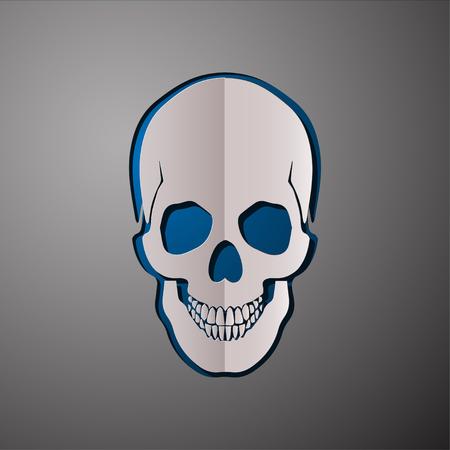 scull: vector illustration of skull, cut paper skull, skull design, scull concept Illustration