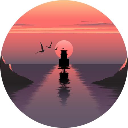 over: Vector horizontal illustration of sunset over the sea and ship.