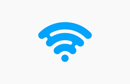 hot wife: wireless network icon. Blue Logo. Creative logo design. Illustration
