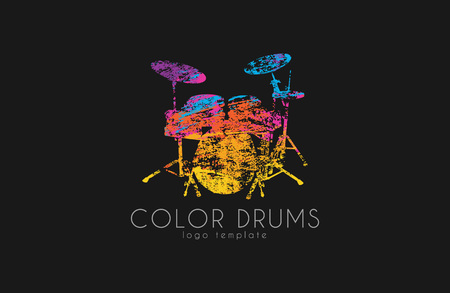 bass drum: Drums . Color music . Music . in grunge style. Creative