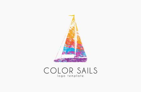 sails: Sails . Color sails. Boat . Sailing design.  in grunge style. Creative